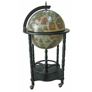 Firenze Italian Style Floor Globe Bar with Twisted Floor Stand
