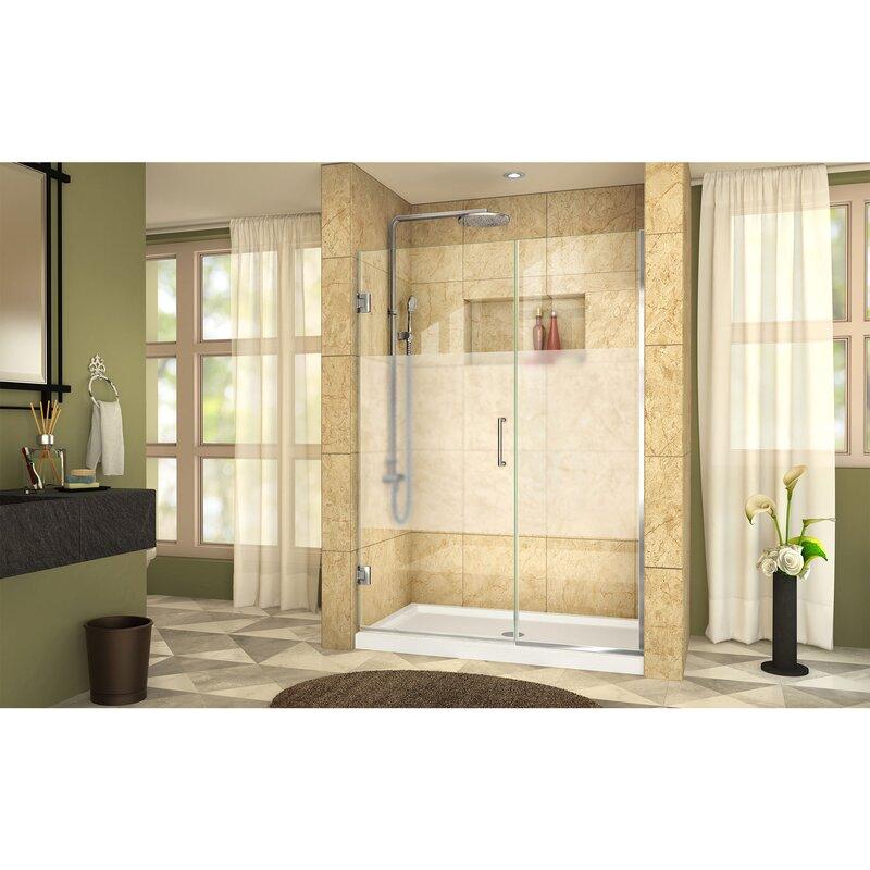 Dreamline Unidoor Plus 46 X 72 Hinged Frameless Shower Door With