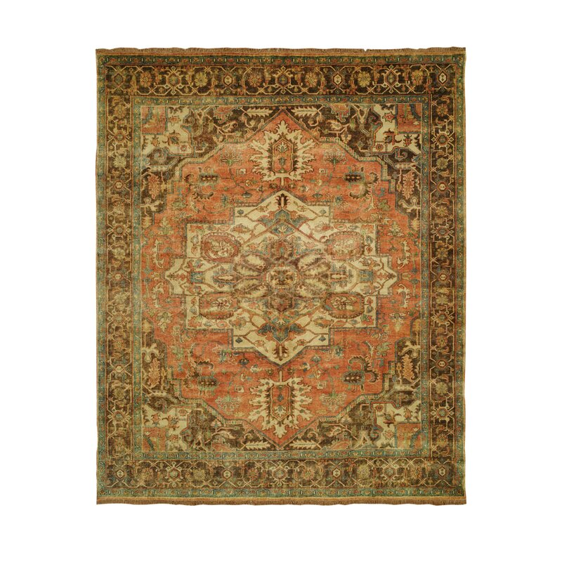 Linoleum Rug Turquoise Terracotta Area Rug Or Kitchen Mat: Shalom Brothers Jules Serapi Gold/Terracotta Area Rug