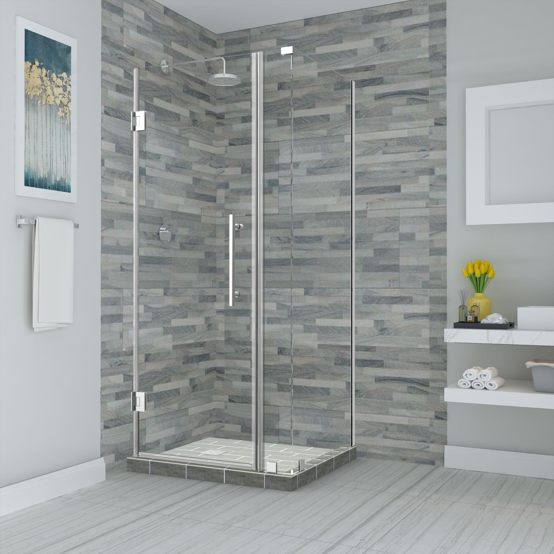 Aston Bromley Hinged Semi-Frameless Rectangle Shower Enclosure   Wayfair