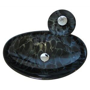 Tartaruga Glass Oval Vessel Bathroom Sink