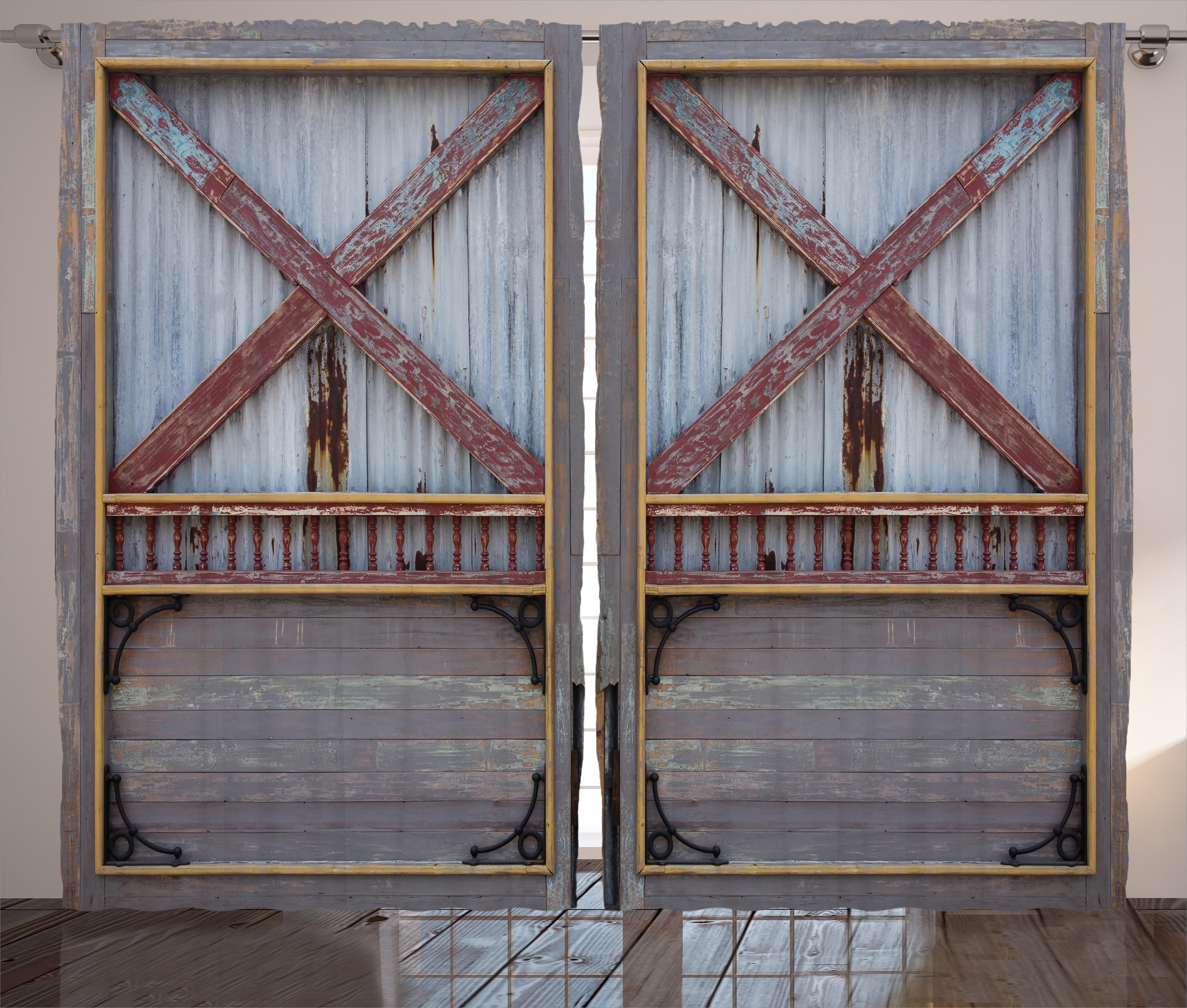 Blevins Industrial Zinc Wooden Gate Image Street Construction Graphic Print Text Semi Sheer Rod Pocket Curtain Panels