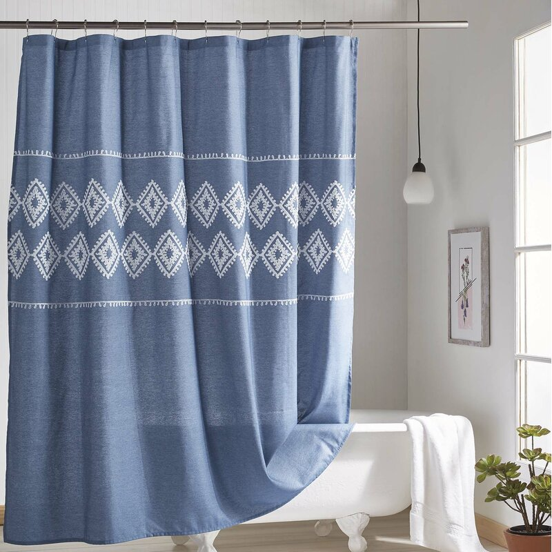 Charley Chambray Geo Single Shower Curtain