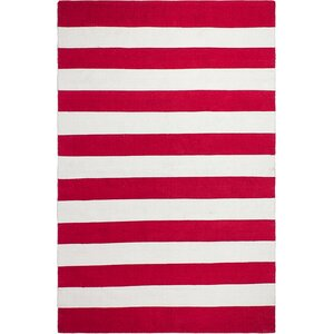 Nantucket Striped Hand-Woven Red/White Indoor/Outdoor Area Rug