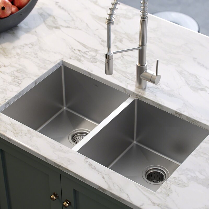33 L X 19 W Double Basin Undermount Kitchen Sink With Drain Embly