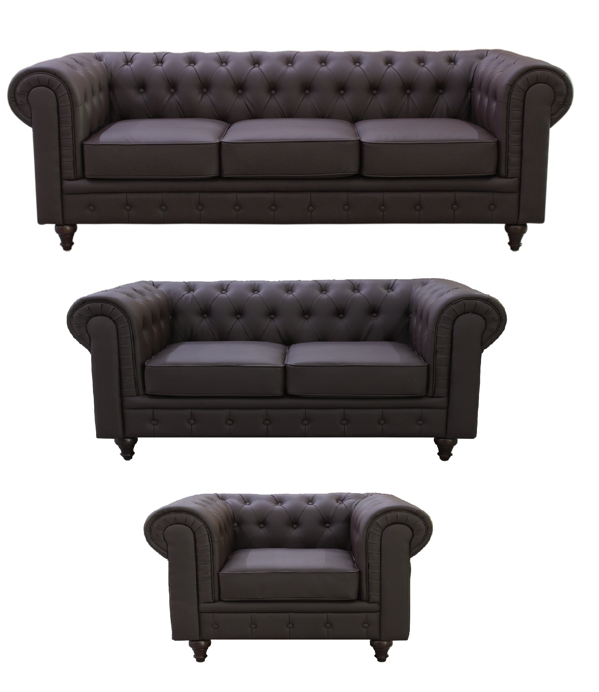 Container Chesterfield 3 Piece Living Room Set Reviews Wayfair