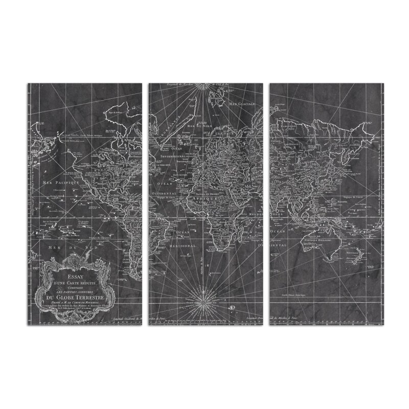 Oliver Gal 'World Map 1778 Triptych Maps Art' Wrapped Canvas Print