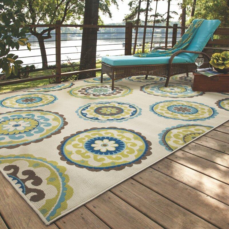 Capri Beige/Green Indoor/Outdoor Area Rug & Reviews | Birch Lane