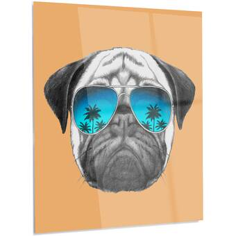 802d1c73a10e9 DesignArt  Pug Dog with Mirror Sunglasses  LED Graphic Art on Metal ...