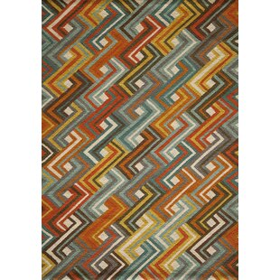 Dixmoor Hooked Blue Orange Area Rug