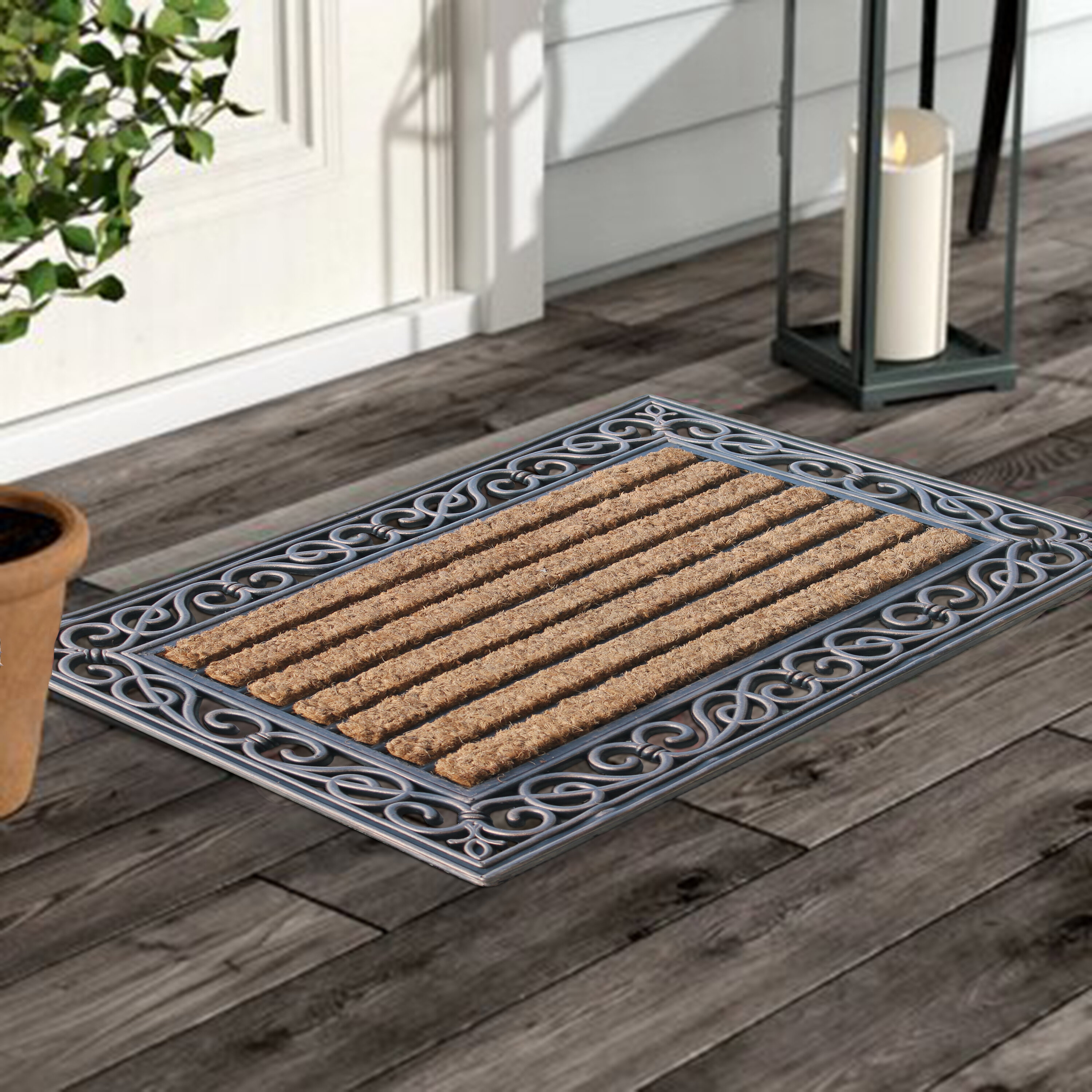 First Impression Molded Striped Coir Door Mat