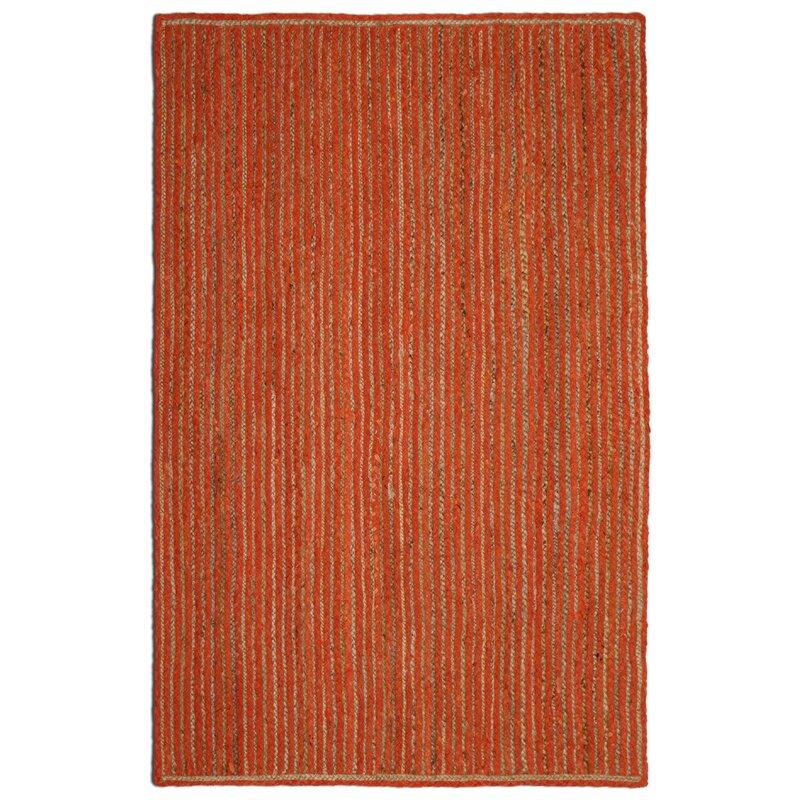 August Grove Latour Braided Cotton Orange Area Rug, Size: Rectangle 19 x 210