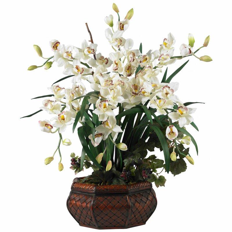 Nearly natural large cymbidium silk flowers in white reviews wayfair large cymbidium silk flowers in white mightylinksfo