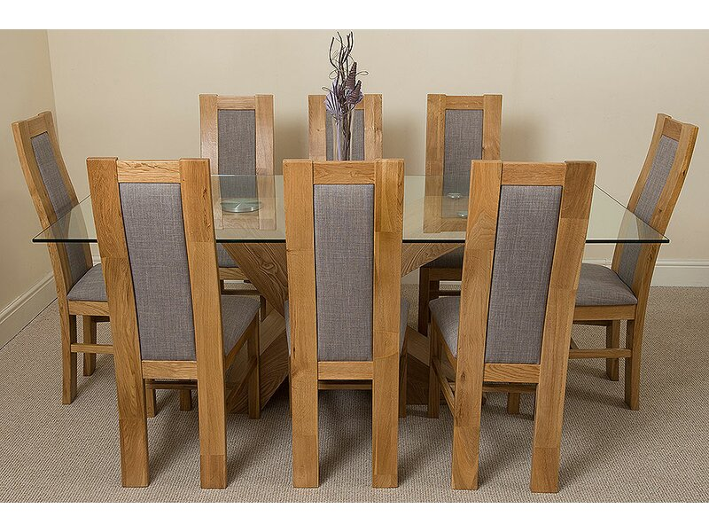 Astounding Gosselin Oak Dining Set With 8 Chairs Home Interior And Landscaping Ferensignezvosmurscom