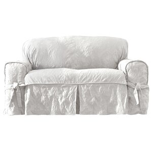 Matelasse Damask Box Cushion Loveseat Slipcover