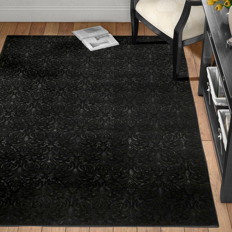 boone damask black area rug