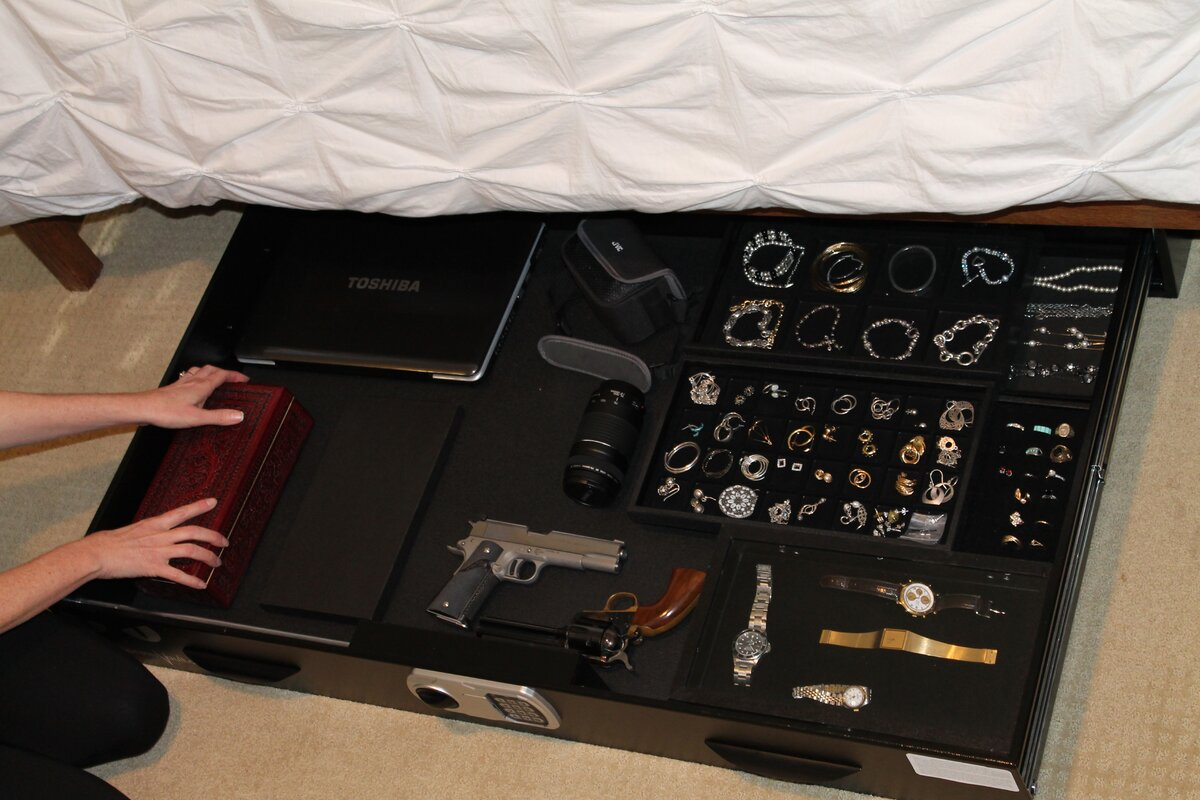 Under bed gun safe biometric - Dual Lock Under Bed Safe