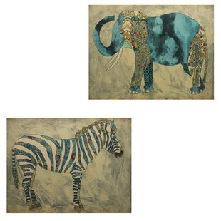 2 Piece Elephant And Zebra Design Wall Décor Set
