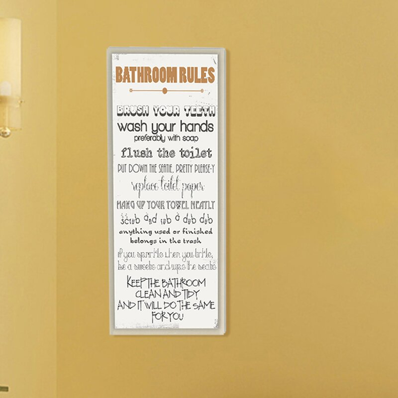 Andover Mills \'Bathroom Rules Skinny\' Rectangle Typography Wall ...
