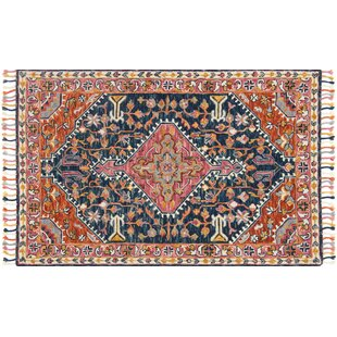 Jovany Hand Hooked Navy Pink Area Rug