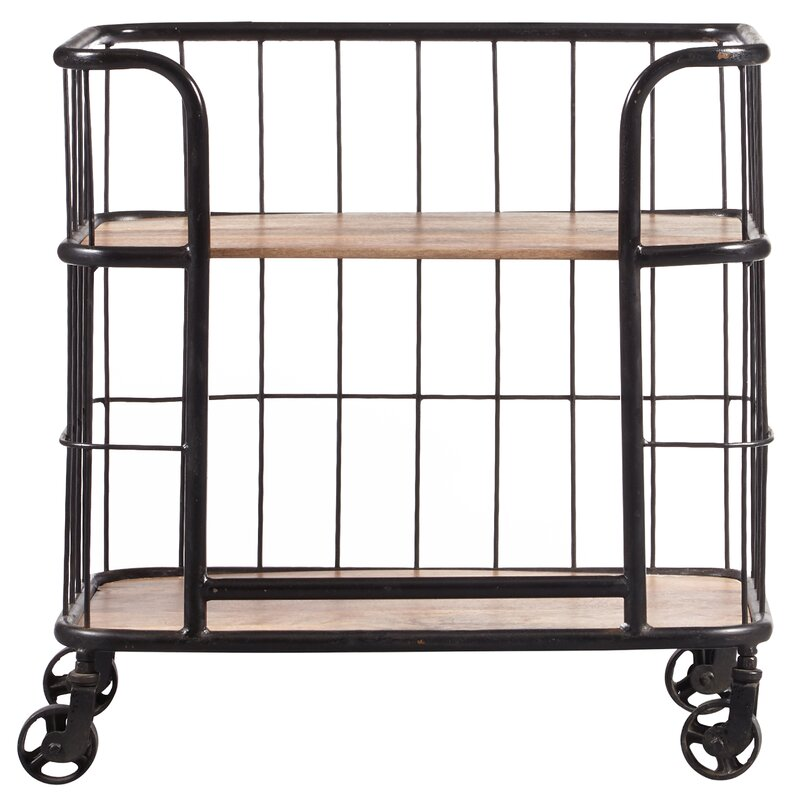 Lorient Wood And Metal Trolley Bar Cart