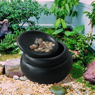 outdoor zen waterfall pot resin fountain with river rock - Garden Waterfalls