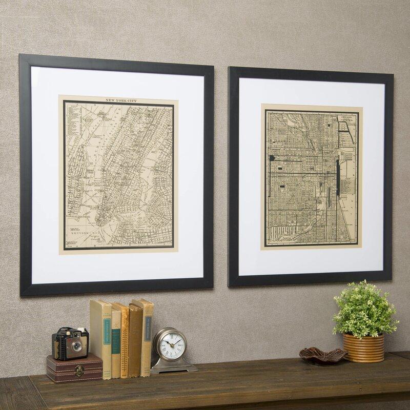 Birch Lane™ Vintage New York City Map Framed Print & Reviews | Birch ...