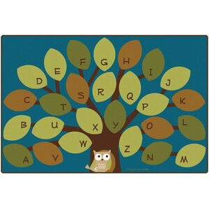 Owl-Phabet Tree Teal Area Rug