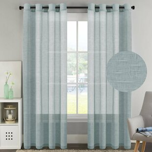 Angeline Breathable Mixed Linen Sheers Nickel Grommet Curtain Panels Set Of 2