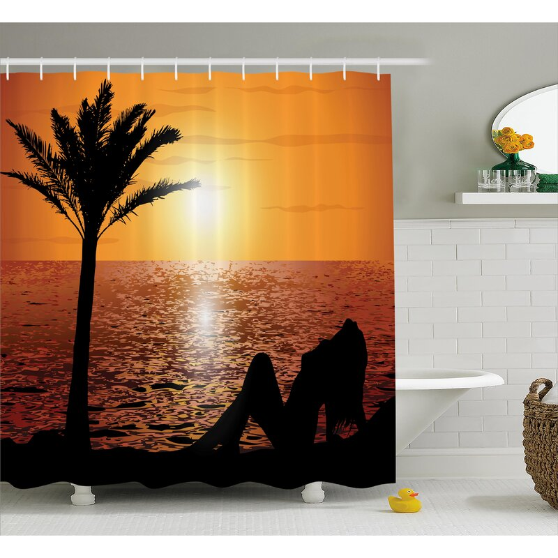 Beach Sexy Girl With Sunset Shower Curtain