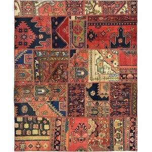 Sela Vintage Persian Hand Woven Wool Red Patchwork Area Rug with Fringe