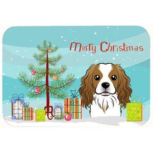 Christmas Tree and Cavalier Spaniel Kitchen/Bath Mat