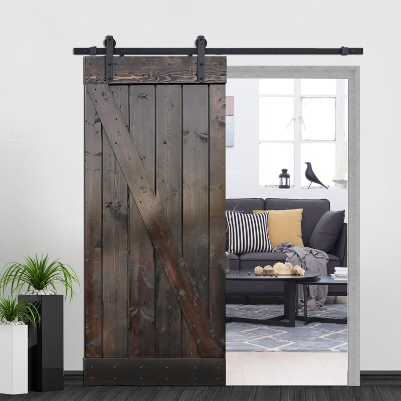 Calhome Z Bar Solid Wood Room Dividers Pine Slab Interior Barn Door Reviews Wayfair