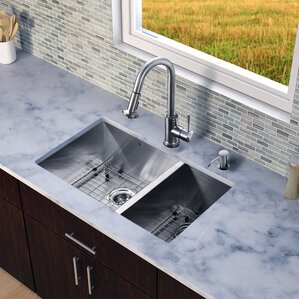 VIGO 29 inch Undermount 70/30 Double Bowl 16 Gauge Stainless Steel Kitchen Sink with Astor Stainless Steel Faucet, Two Gri...