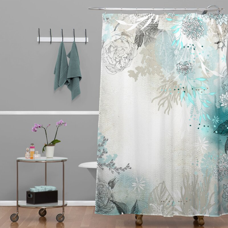 grey and turquoise shower curtain. Holley Seafoam Extra Long Shower Curtain Bungalow Rose  Reviews
