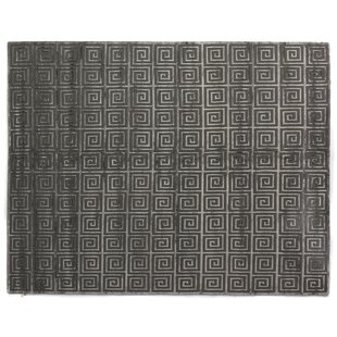 Greek Key Greco Hand Knotted Wool Dark Gray Area Rug