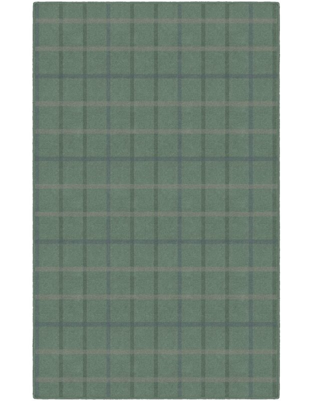 Gracie Oaks Evelin Muted Plaid Green Area Rug, Size: Rectangle 76 x 10
