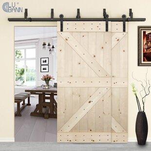 Bypass Double Sliding Barn Door Hardware & 48 Inch Wide Sliding Barn Door | Wayfair