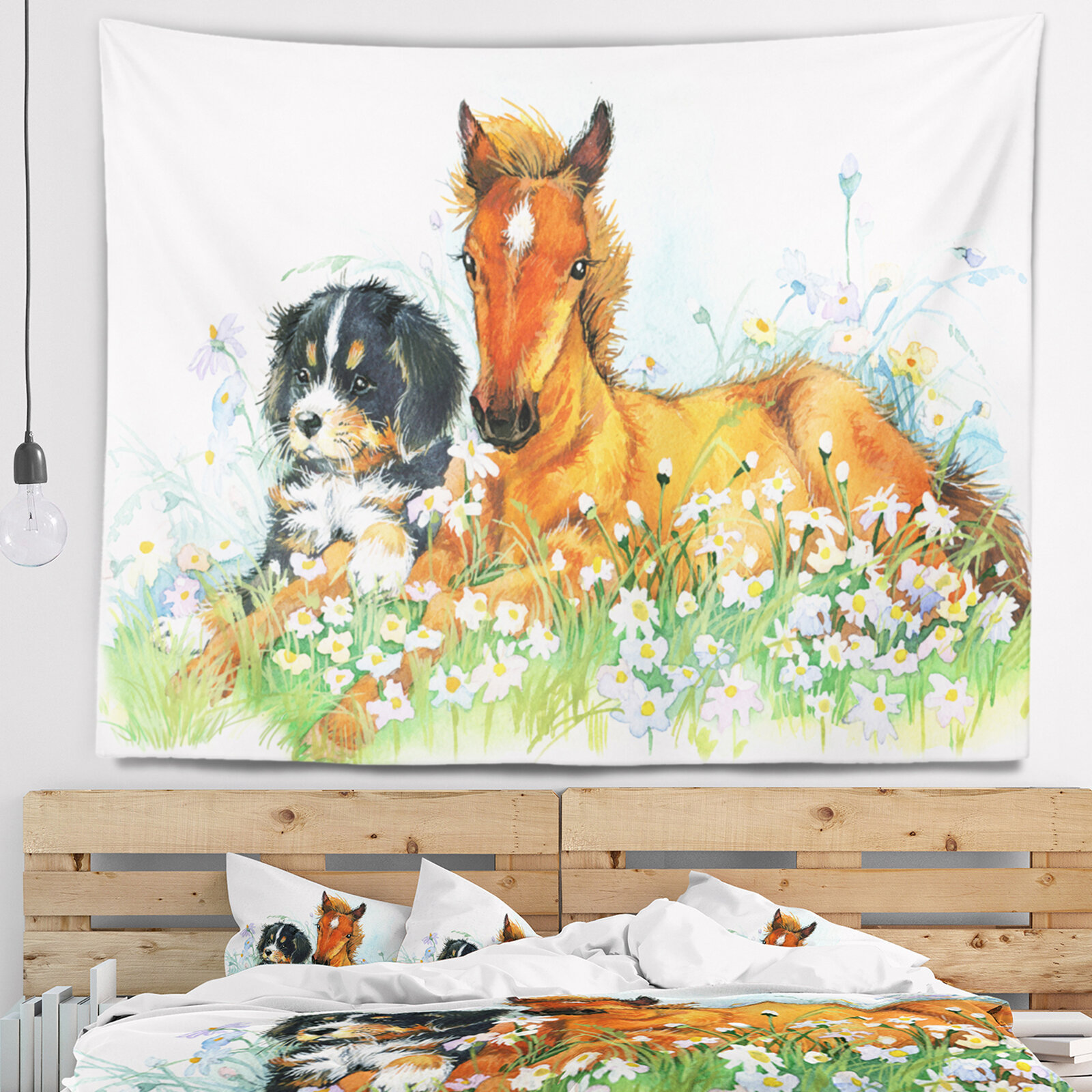East Urban Home Relaxing Brown Cute Horse Tapestry and Wall Hanging ...