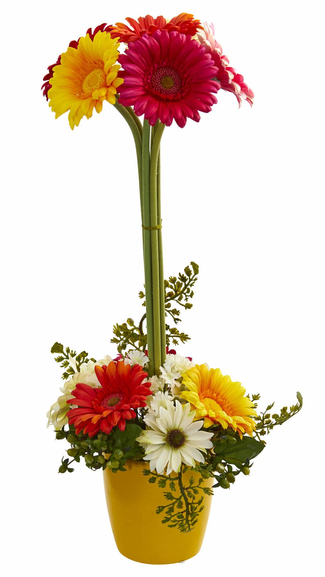Winston porter artificial gerber daisy floral arrangement in vase winston porter artificial gerber daisy floral arrangement in vase wayfair izmirmasajfo