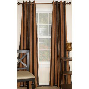 Striped Semi-Sheer Grommet Single Curtain Panel