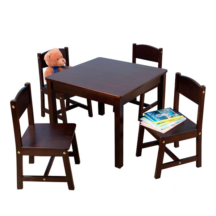 Farmhouse Kids 5 Piece Square Table and Chair Set  sc 1 st  Wayfair & Farmhouse Kids 5 Piece Square Table and Chair Set
