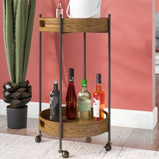 Ginnie 2-Tier Round Metal Frame Bar Cart