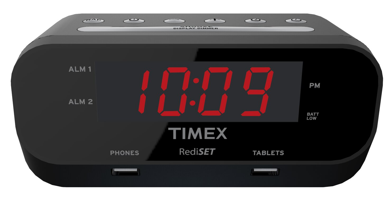 alarm clock 8am. rediset dual alarm clock with usb charging and extreme battery backup 8am