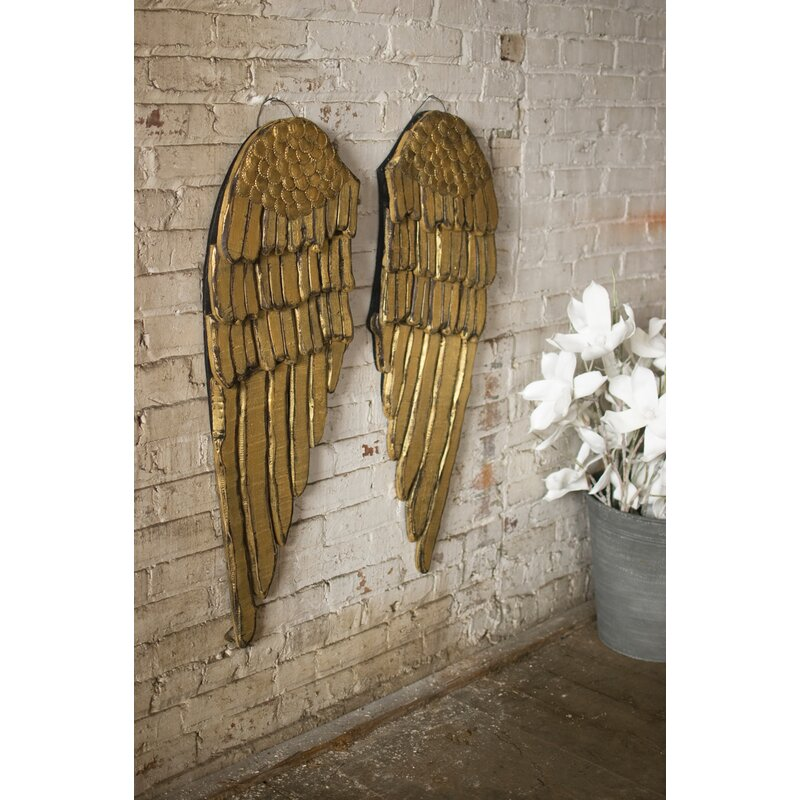 One Allium Way 2 Piece Painted Wooden Angel Wing Wall Décor Set ...