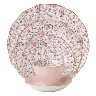 Rose Confetti Vintage formal 5 Piece Bone China Place Setting Service for 1  sc 1 st  Wayfair & Fine China You\u0027ll Love | Wayfair