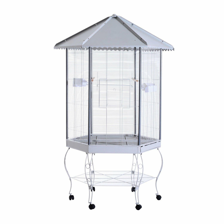 Franconia Covered Canopy Portable Aviary Flight Bird Cage with Storage Shelf