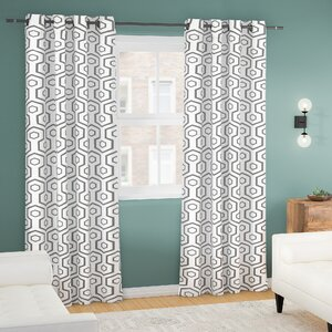 Marnie Geometric Blackout Thermal Grommet Curtain Panels (Set of 2)