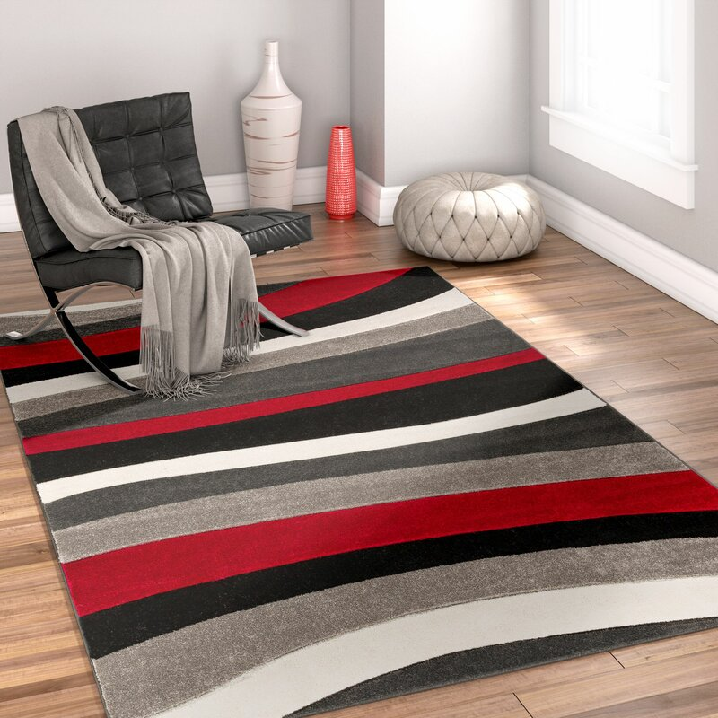 Well Woven Rad Wave Red Gray Black Area Rug Amp Reviews