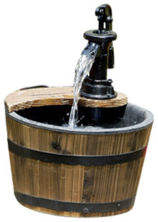 Wood Barrel With Pump Patio Water Fountain